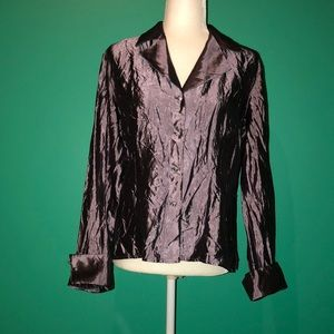 Taffeta Rhinestone Button Up Shirt